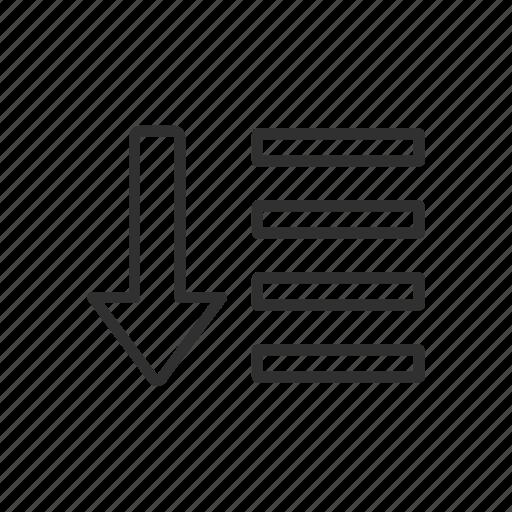down, lines, menu bar, shapes icon