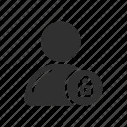 contact secured, lock, profile, user lock icon