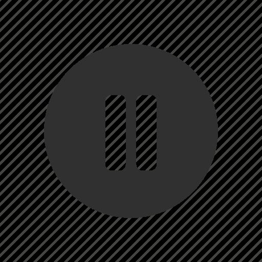 circle, pause, pause button, plug icon