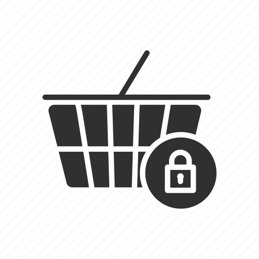 cart, grocery, lock, secured cart icon