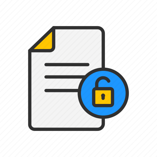 document, files, files unlock, unlock file icon