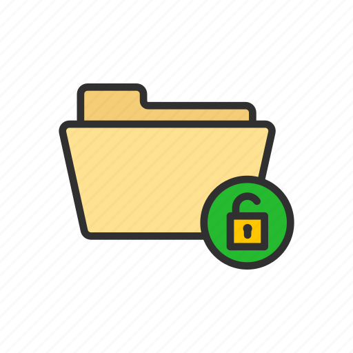 folder, padlock, unlock file, unlock folder icon