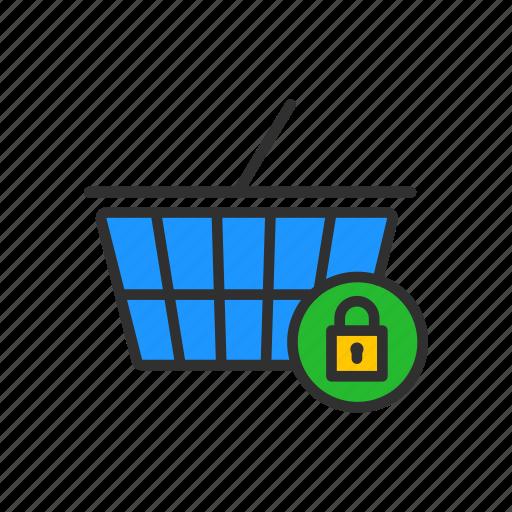 cart, cart lock, grocery, padlock icon