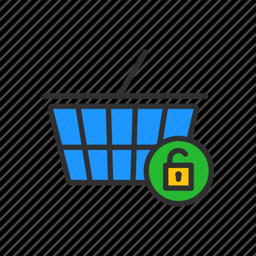 cart, grocery, padlock, unlock cart icon