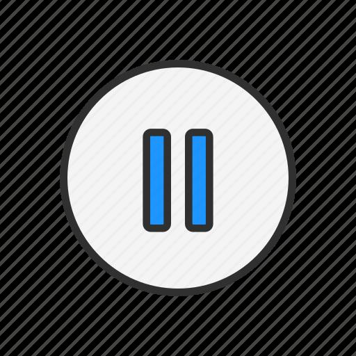 bars, pause, pause button, plug icon