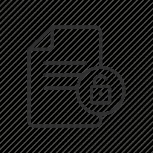 document, open file, padlock, unlock file icon