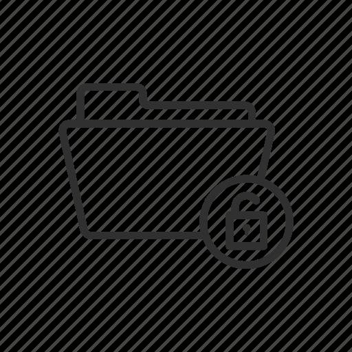 folder, unlock, unlock folder, unsecure folder icon