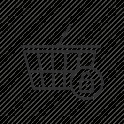 lock cart, padlock, security cart, shopping cart icon