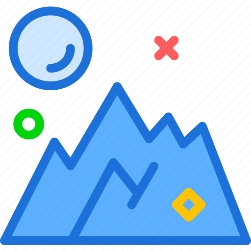 cold, heights, landscape, mountains, sun icon