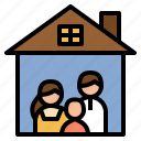 covid19, family, home, quarantine, safe, stay icon