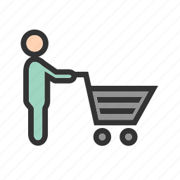 cart, grocery, pushing, shelf, shopping, store, supermarket icon