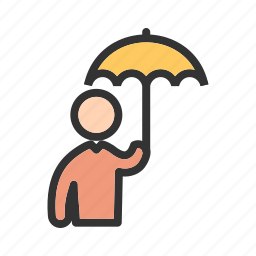 hand, holding, protection, rain, raining, safety, umbrella icon