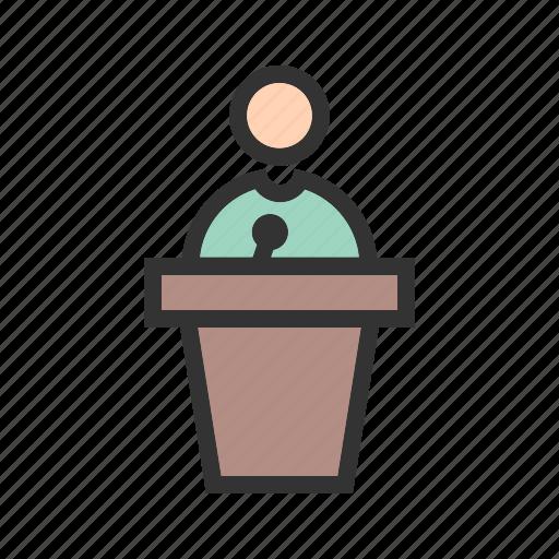 audience, microphone, podium, speak, speaker, speech, stage icon