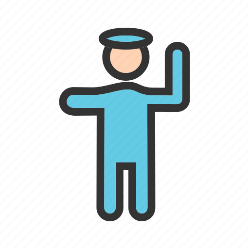blue, enforcement, law, officer, police, policeman, traffic icon