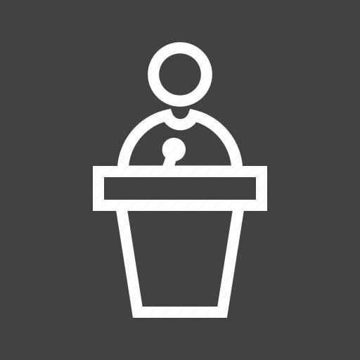 audience, microphone, podium, public, speak, speaker, speech icon
