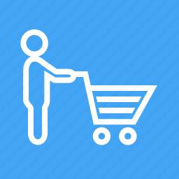 cart, grocery, pushing, shelf, shopping, store, supermarket icon