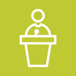 audience, microphone, podium, public, speak, speaker, speech icon
