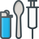 drug, heroin, lighter, spoon, syringe, tool icon