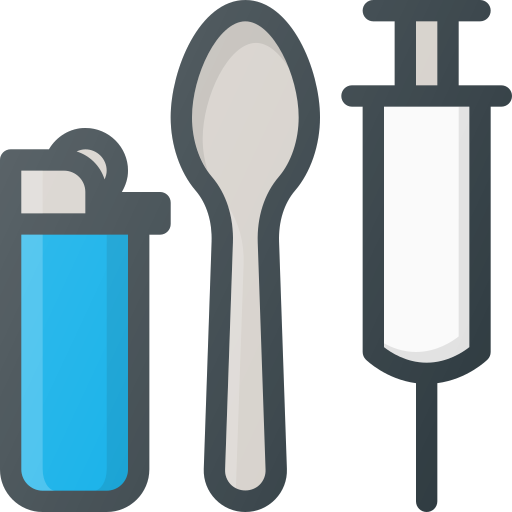 drug, heroin, lighter, spoon, syringe, tool icon