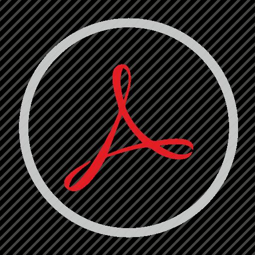 acrobat, adobe, label, pdf, round icon