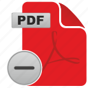 acrobat, api, cut, document, file, minus, pdf icon