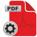 acrobat, adobe, api, gear, options, pdf, settings icon