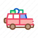 adventure, camping, car, luggage, transport, vehicle icon