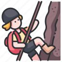 adventure, climber, extreme, mountain, rappel, rock, rope icon