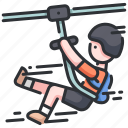 adventure, extreme, line, outdoor, rope, travel, ziplining icon