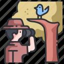 animal, binoculars, bird, birdwatching, forest, nature, outdoor icon