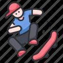 extreme, jump, skate, skateboard, skateboarding, skating, street icon
