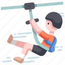 adventure, extreme, outdoor, rope, sport, travel, ziplining icon