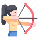 aim, archer, archery, arrow, bow, sport, target icon