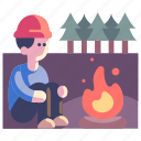adventure, camp, campfire, forest, nature, outdoor, travel icon