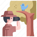 binoculars, bird, birdwatching, forest, nature, wild, wildlife icon