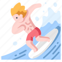 sport, summer, surf, surfboard, surfer, surfing, wave icon