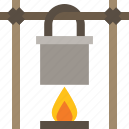 bonfire, campfire, cooking, outdoor icon