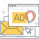 advertisement, computer, email, inbox, mail address, marketing, message icon
