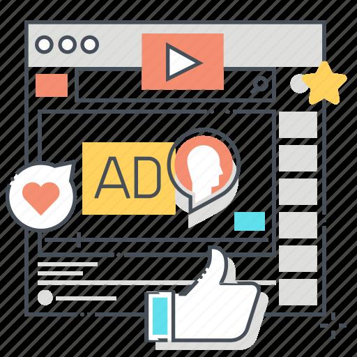 advertisement, channel, entertainment, internet, media, social, video icon