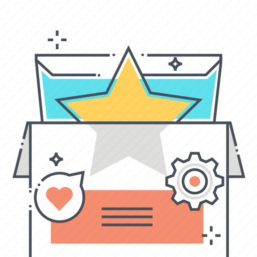 advertisement, box, marketing, product, promotion, star icon