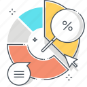 advertisement, financial, investment, marketing, percentage, pie chart, statistics icon