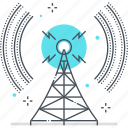 broadcasting, communication, network, station, tower, wi-fi, wireless icon