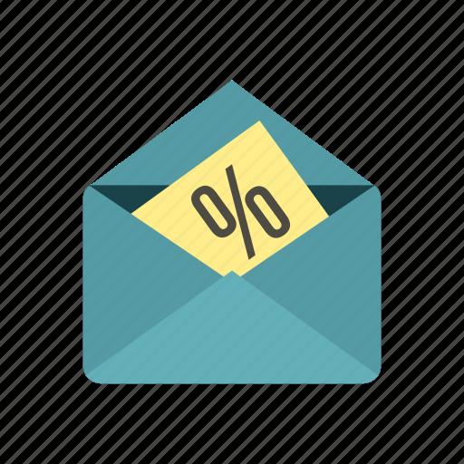 business, card, envelope, letter, paper, percent, sale icon