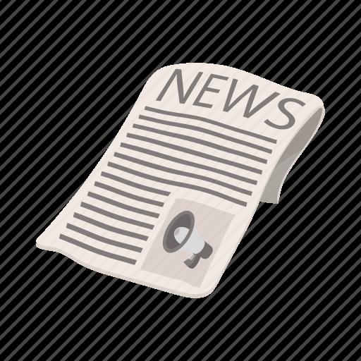 advertisement, cartoon, headline, media, newspaper, press, reclame icon