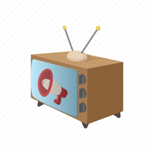 advertising, announce, business, cartoon, concepts, television, tv icon
