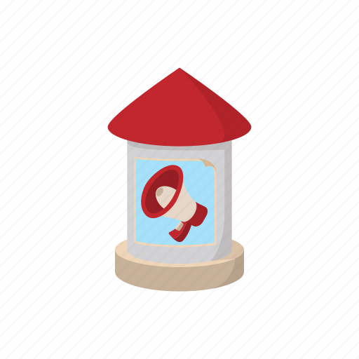 advertising, cartoon, outdoor, pillar, poster, round, stand icon