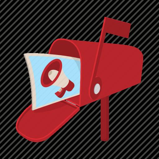advertisement, cartoon, correspondence, mailbox, megaphone, poster icon