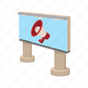 advertise, advertising, announce, billboard, cartoon, city, megaphone icon