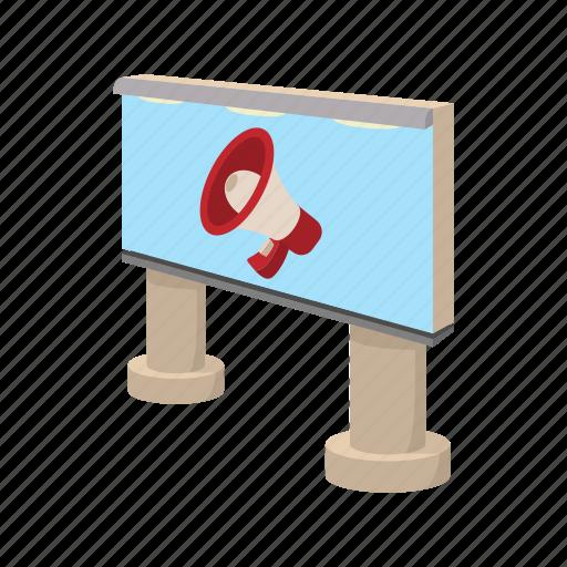 advertise, advertising, announce, billboard, cartoon, city, megaphone icon