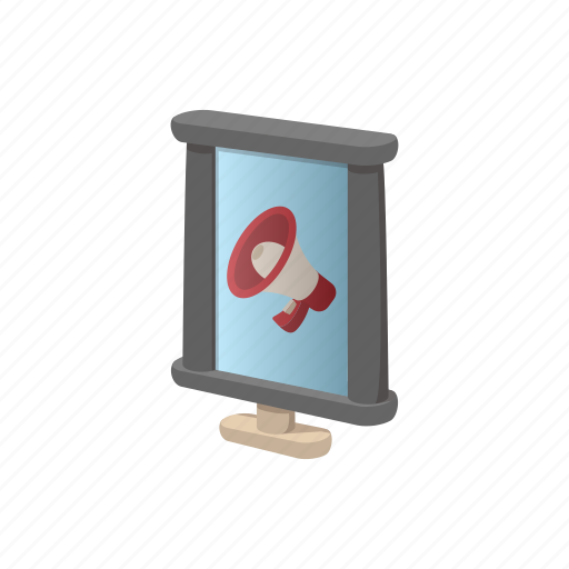 advertising, billboard, cartoon, city, light, megaphone, screen icon